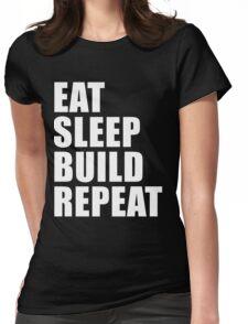 Eat Sleep Build Repeat Sport Shirt Funny Cute Gift For Factory Worker Builder Carpenter House Framer Builder  Womens Fitted T-Shirt