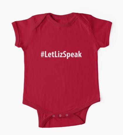 Let Liz Speak  (White Text) One Piece - Short Sleeve