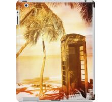 Vintage telephone booth yellow glow iPad Case/Skin