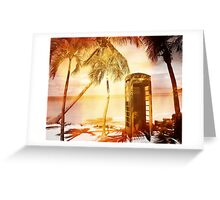 Vintage telephone booth yellow glow Greeting Card
