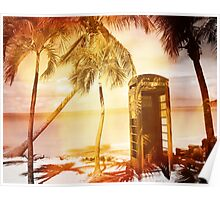 Vintage telephone booth yellow glow Poster