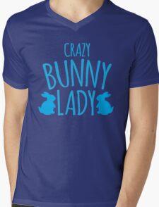 CRAZY Bunny lady Mens V-Neck T-Shirt