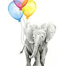 Baby Elephant Nursery Animal Art Watercolor by Olga Shvartsur