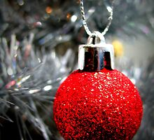 Red Ornament Christmas Card by Pamela Burger