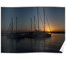 Sicilian Sunset at the Syracuse Harbour  Poster