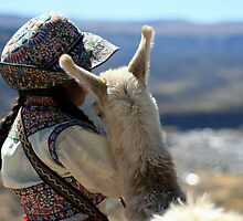 Peruvian Girl and Baby Alpaca by Rory Skopek