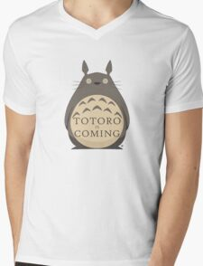 Totoro Is Coming Mens V-Neck T-Shirt