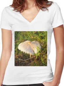 White Toadstool 3 Women's Fitted V-Neck T-Shirt