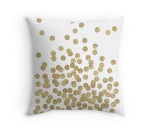 Gold Glitter Drops on White Throw Pillow