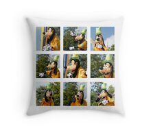 The Many Faces of Goofy Throw Pillow