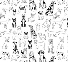 Dogs Dogs Dogs - White background by Andrea Lauren