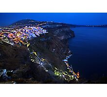 Night falling over the Caldera of Santorini Photographic Print