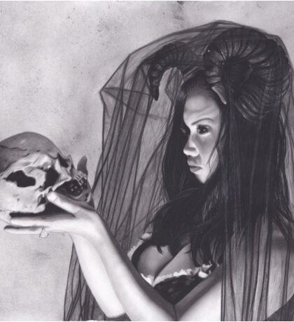 Realism Charcoal Drawing of Sexy Dark Queen in Veil with Skull Sticker