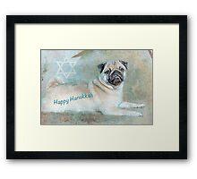 """Pug """"Happy Hanukkah"""" ~ Greeting Card Framed Print"""