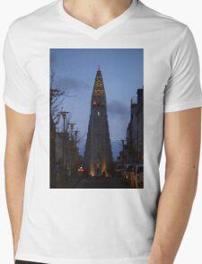 Reykjavik's Landmark Mens V-Neck T-Shirt