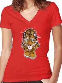 STUCK - Brown Tiger Women's Fitted V-Neck T-Shirt