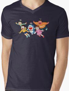 Doraemon Nobita Mens V-Neck T-Shirt
