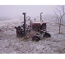 Frozen Tractor Photographic Print