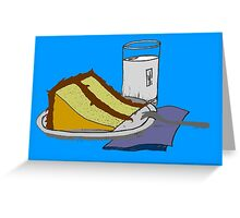 Birthday Cake and a Glass of Milk 1 Greeting Card