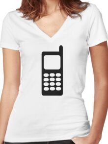 Cell phone mobile Women's Fitted V-Neck T-Shirt