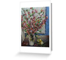 Vase with Flowering Quince Greeting Card