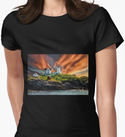 Cape Neddick Nubble Lighthouse Womens Fitted T-Shirt