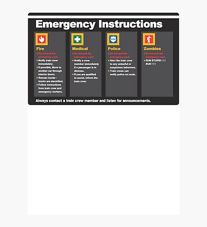 Subway Emergency Instructions Photographic Print