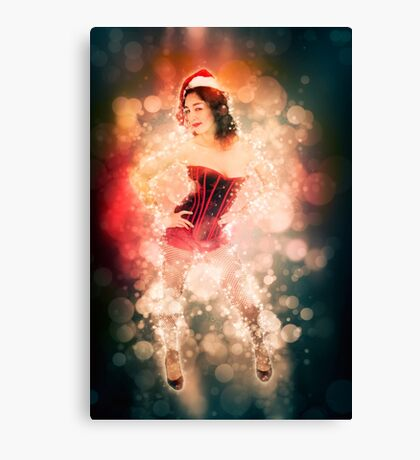 Young sexy woman in a red corset wearing Santa hat  Canvas Print