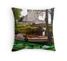 Boats at Ross Castle, Killarney, Ireland Throw Pillow