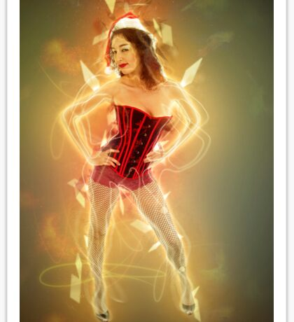 Young sexy woman in a red corset wearing Santa hat  Sticker