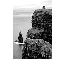 O'Briens Tower at the Cliffs of Moher, Ireland (b/w) Photographic Print