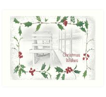 "Snowy Beach ""Christmas Wishes"" ~ Greeting Card Art Print"