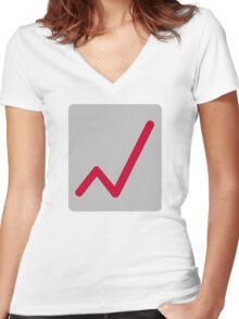 Chart statistics icon Women's Fitted V-Neck T-Shirt