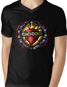 Stain Glass Sacred Heart 2 Mens V-Neck T-Shirt
