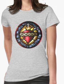 Stain Glass Sacred Heart 2 Womens Fitted T-Shirt