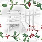 "Snowy Beach ""Happy Holidays!"" ~ Greeting Card by Susan Werby"