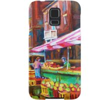 OUTDOOR MARKET DAY MONTREAL PAINTINGS OF CANADIAN CITIES BY CANADIAN ARTIST CAROLE SPANDAU Samsung Galaxy Case/Skin