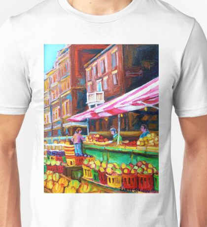 OUTDOOR MARKET DAY MONTREAL PAINTINGS OF CANADIAN CITIES BY CANADIAN ARTIST CAROLE SPANDAU Unisex T-Shirt