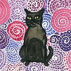 Watercolour Cats - Black Cat on Purple Spirals by Danièlle Lily Marie Blance