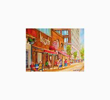 SIDEWALK RESTAURANTS MONTREAL CITY SCENES PAINTINGS CANADIAN ART Unisex T-Shirt