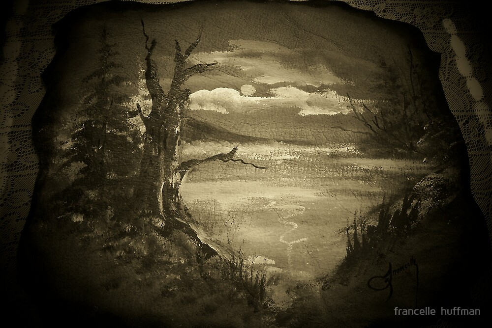 MOONLIGHT PAINTING ON LEATHER IN SEPIA  by francelle  huffman