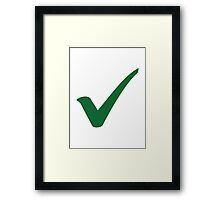Green check mark Framed Print