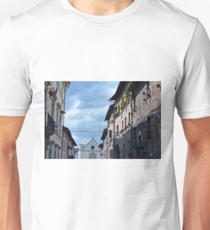 Beautiful street in Assisi, Italy with stone buildings and church Unisex T-Shirt