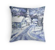 SNOWY VILLAGE CHRISTMAS SCENE Throw Pillow