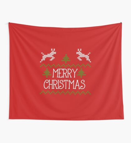 Merry Christmas knit design II Wall Tapestry