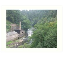 View to Falls of Clyde from New Lanark Visitor centre Art Print