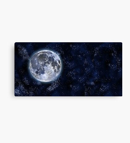 Aurora Beautiful Star Sky with Moon Canvas Print