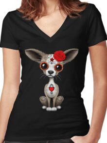 Red Day Of The Dead Sugar Skull Chihuahua Puppy Women's Fitted V-Neck T-Shirt