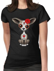 Red Day Of The Dead Sugar Skull Chihuahua Puppy Womens Fitted T-Shirt