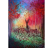 Deer in a poppy field  by Art-By-Lau